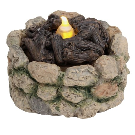 Mini Fairy Garden Light-Up Firepit Ornament Stone Fire Pit Dollhouse Accessory ()