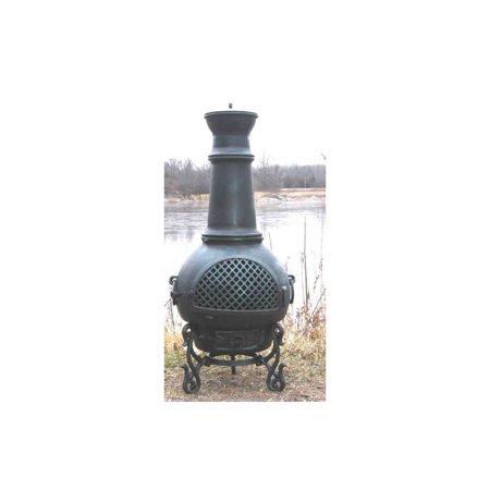 Blue Chimenea Fireplace Gatsby Antique Green Gas Fueled Product Photo