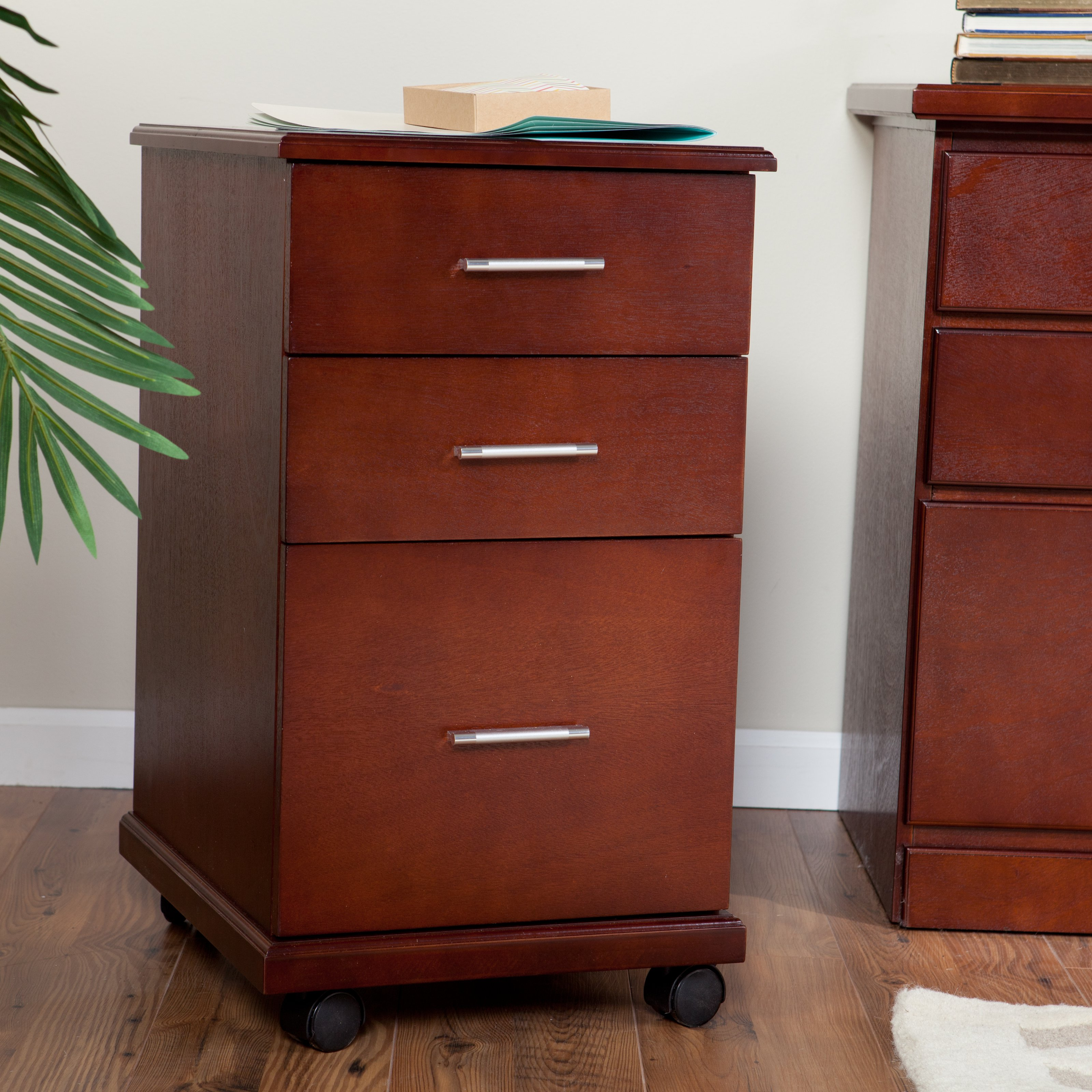 modern file cabinets the 3 drawer mobile modern file cabinet cherry 23500