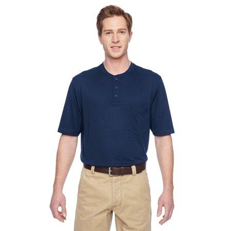 Branded Harriton Adult Short Sleeve Performance Henley - DARK NAVY - XS (Instant Saving 5% & more on min -