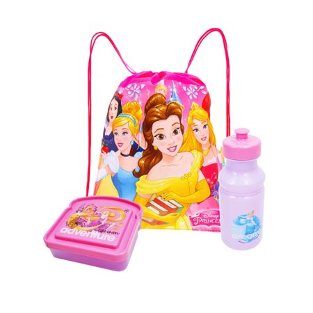 Girls Disney Princesses Group Sling Bag Water Bottle & Sandwich Container 3Pcs