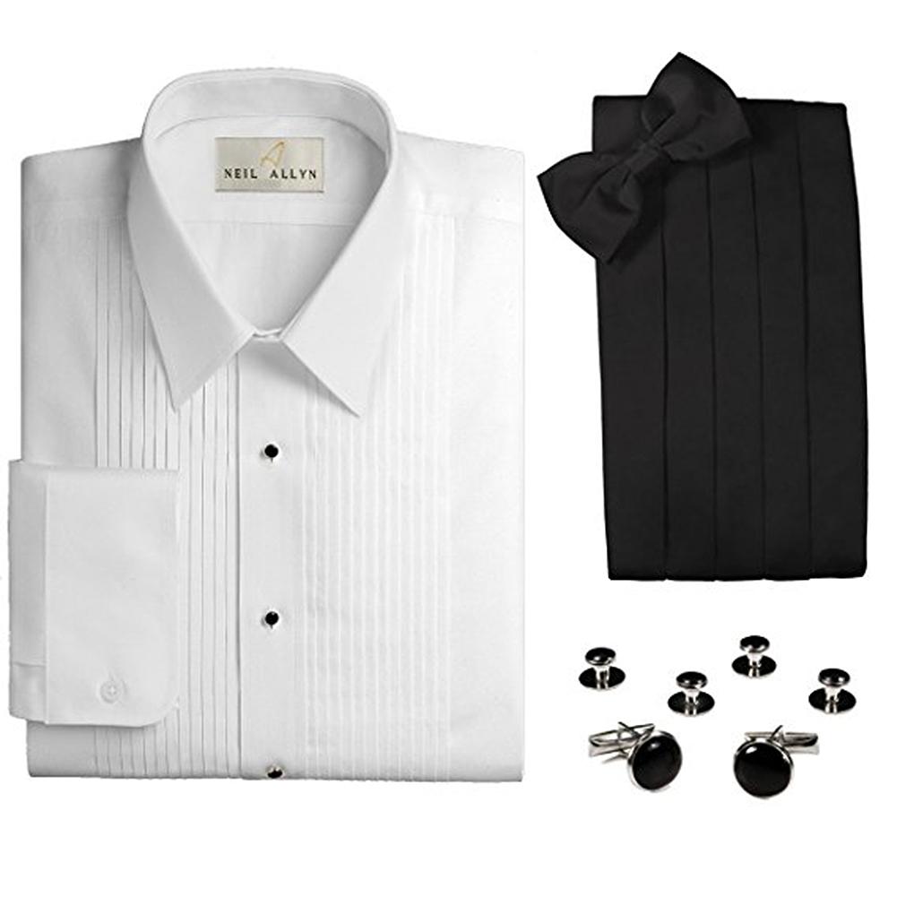 """Neil Allyn Men's 1/4"""" Pleat Tuxedo Shirt & Accessories 4-..."""