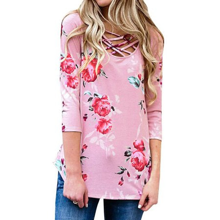 Starvnc Women Floral Print Criss Cross Long Sleeve Round Neck Tops