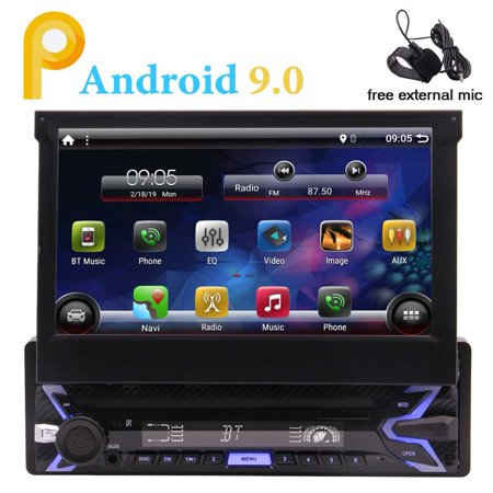 Single DIN In Dash Android 9.0 Pie System 1G+16G Quad Core Car Stereo Head Unit with 7 inch Flip Out Touch Screen Monitor Support