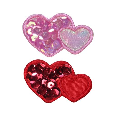 Heart Sequin Applique (ID 3259AB Set of 2 Sequins Heart Patches Valentines Day Love Iron On)