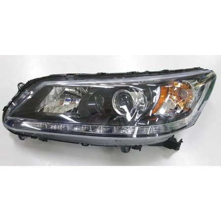 CarLights360: Fits 2013 HONDA ACCORD Head Light Assembly Driver Side w/Bulbs (Black Housing) - (CAPA Certified) Replacement for