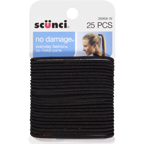 Scunci No Damage Hair Ties, Medium Black, 25 count