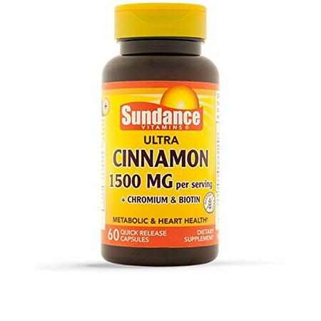 2 Pack Sundance Cinnamon 1500 mg + Chromium & Biotin 60 Quick Release Capsules