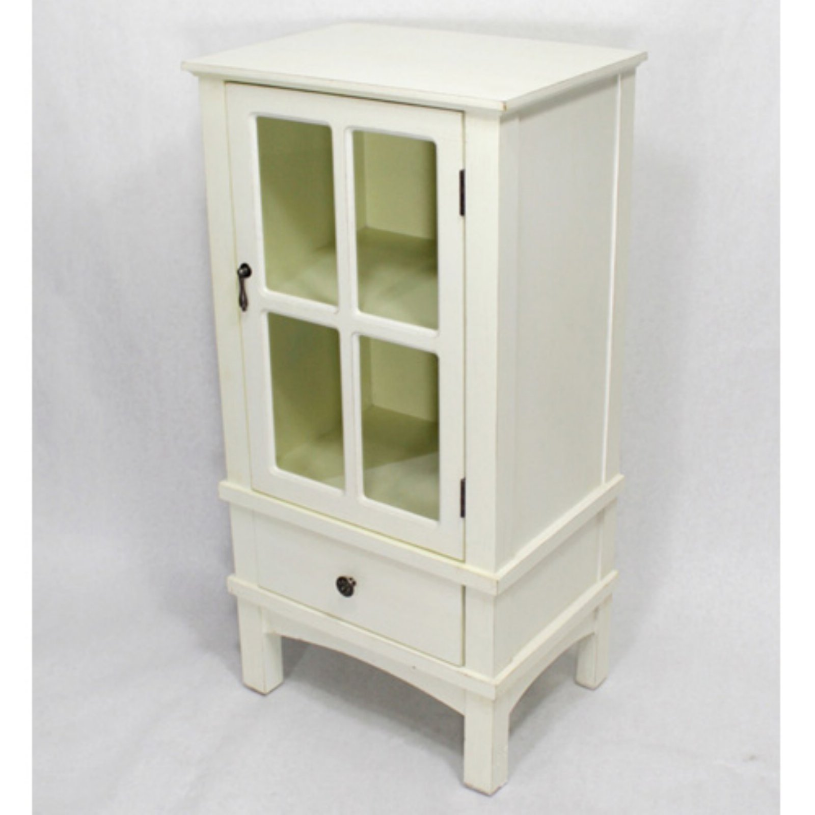 Heather Ann Creations Vivian Farmhouse Paned Glass Accent Cabinet