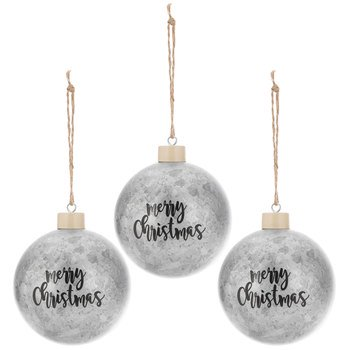 Merry Christmas Galvanized Ornaments Christmas Tree Holiday Home Decoration 3 Ct