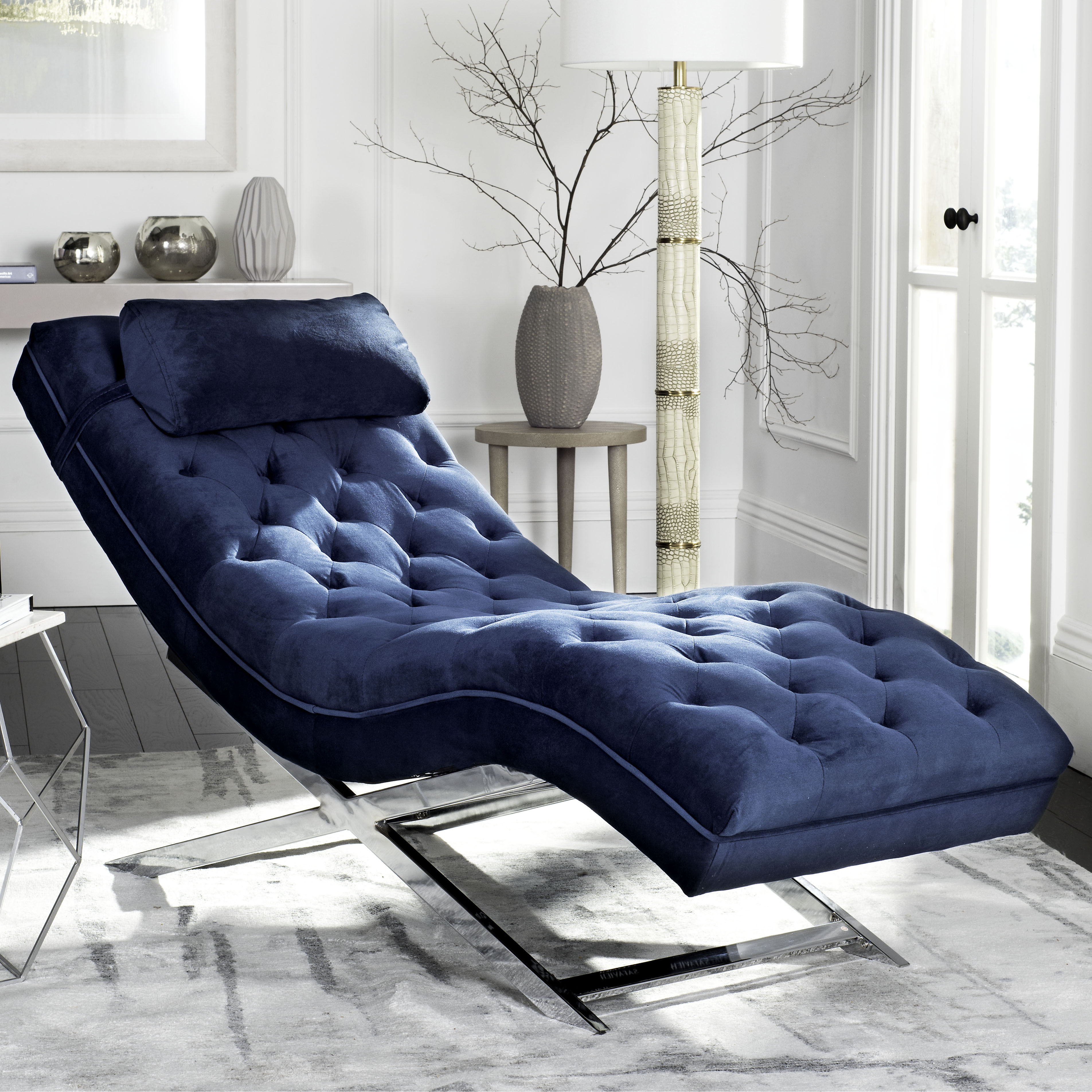 Safavieh Monroe Chaise w/ Round Pillow, Multiple Colors