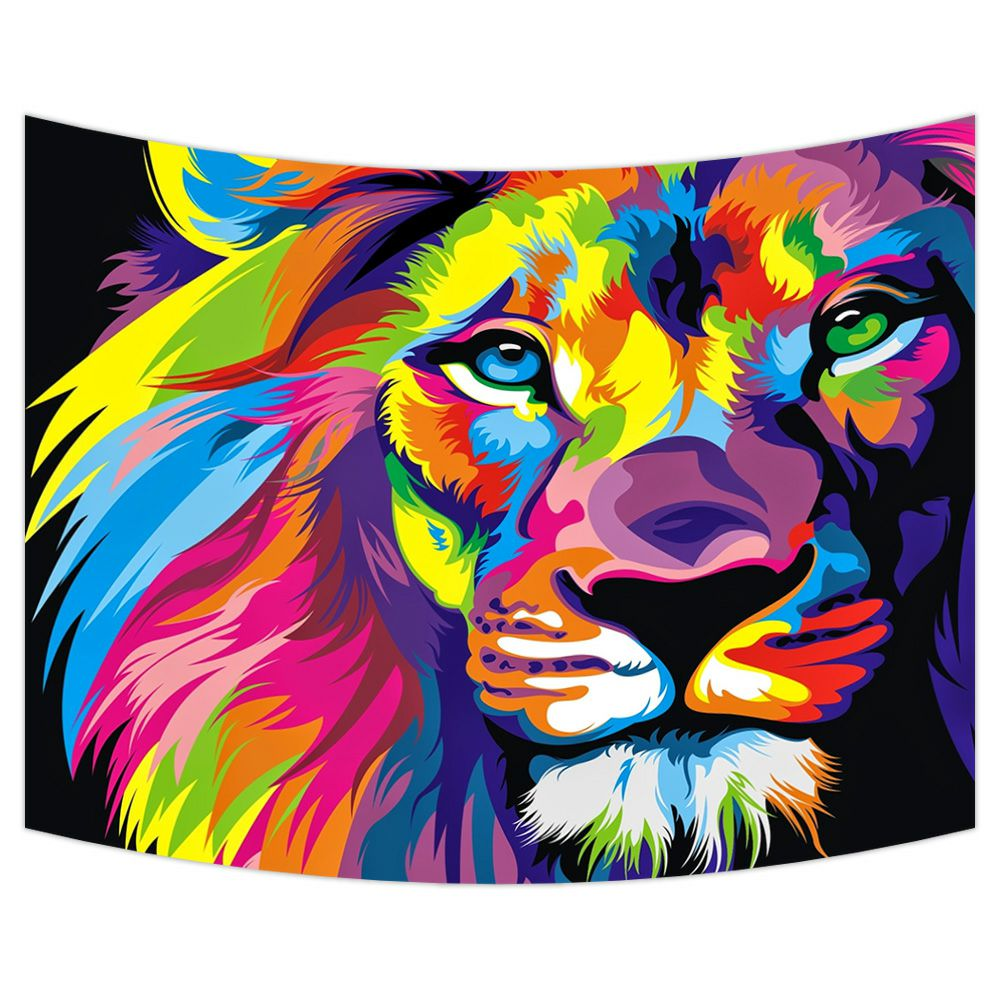 ZKGK Lion Art Tapestry Wall Hanging Wall Decor Art for Living Room Bedroom Dorm Cotton Linen Decoration 80x60 Inches