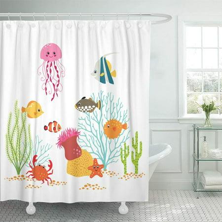 KSADK Colorful Coral Cartoon Underwater Design On White Reef Crab Cute Animal Sea Fish Shower Curtain 66x72 (Reef Crab)
