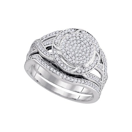 10K White Gold 0 50Ctw Shiny Diamond Twist Center Round Micro Pave Bridal Ring