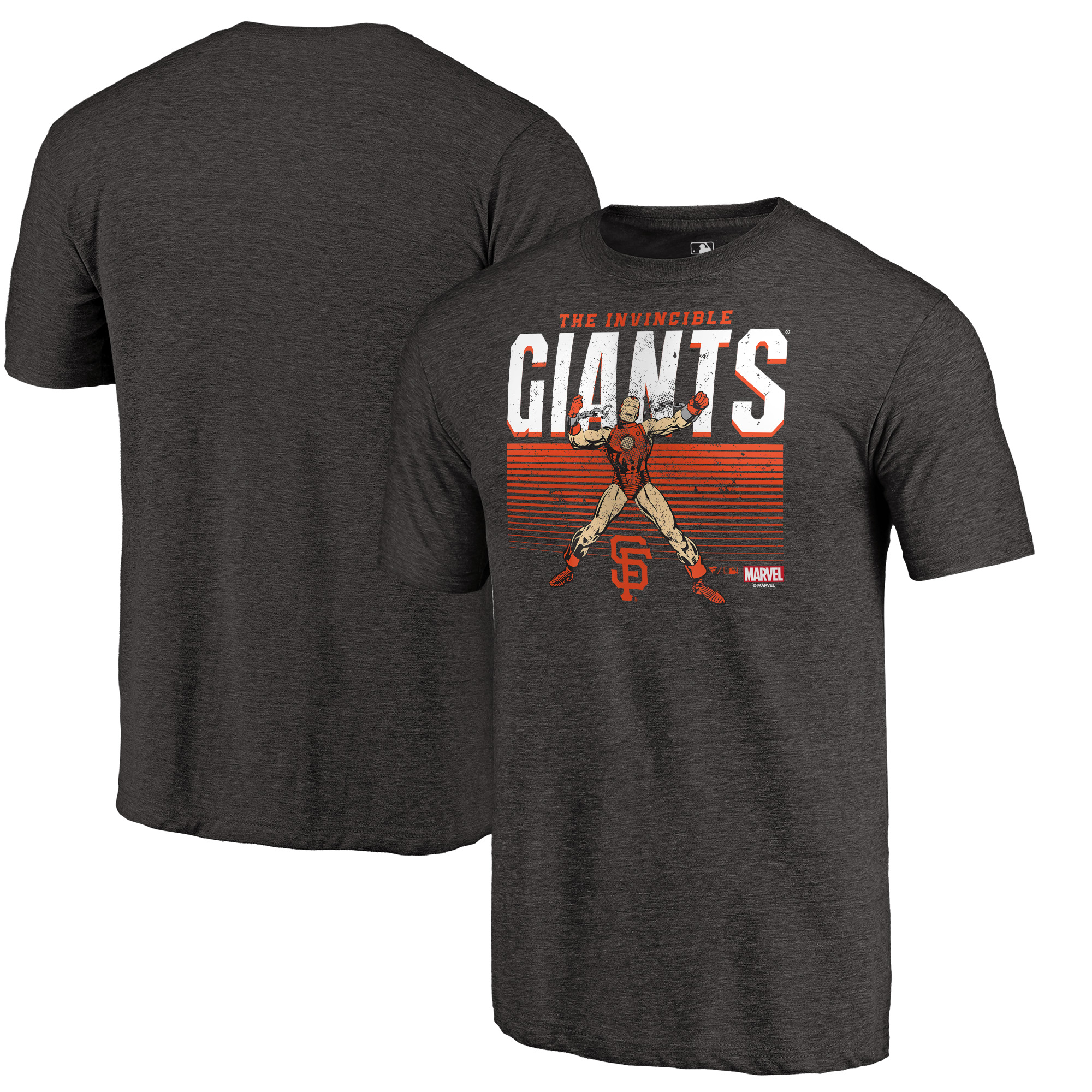 San Francisco Giants Fanatics Branded Marvel Iron Man Invincible Tri-Blend T-Shirt - Black