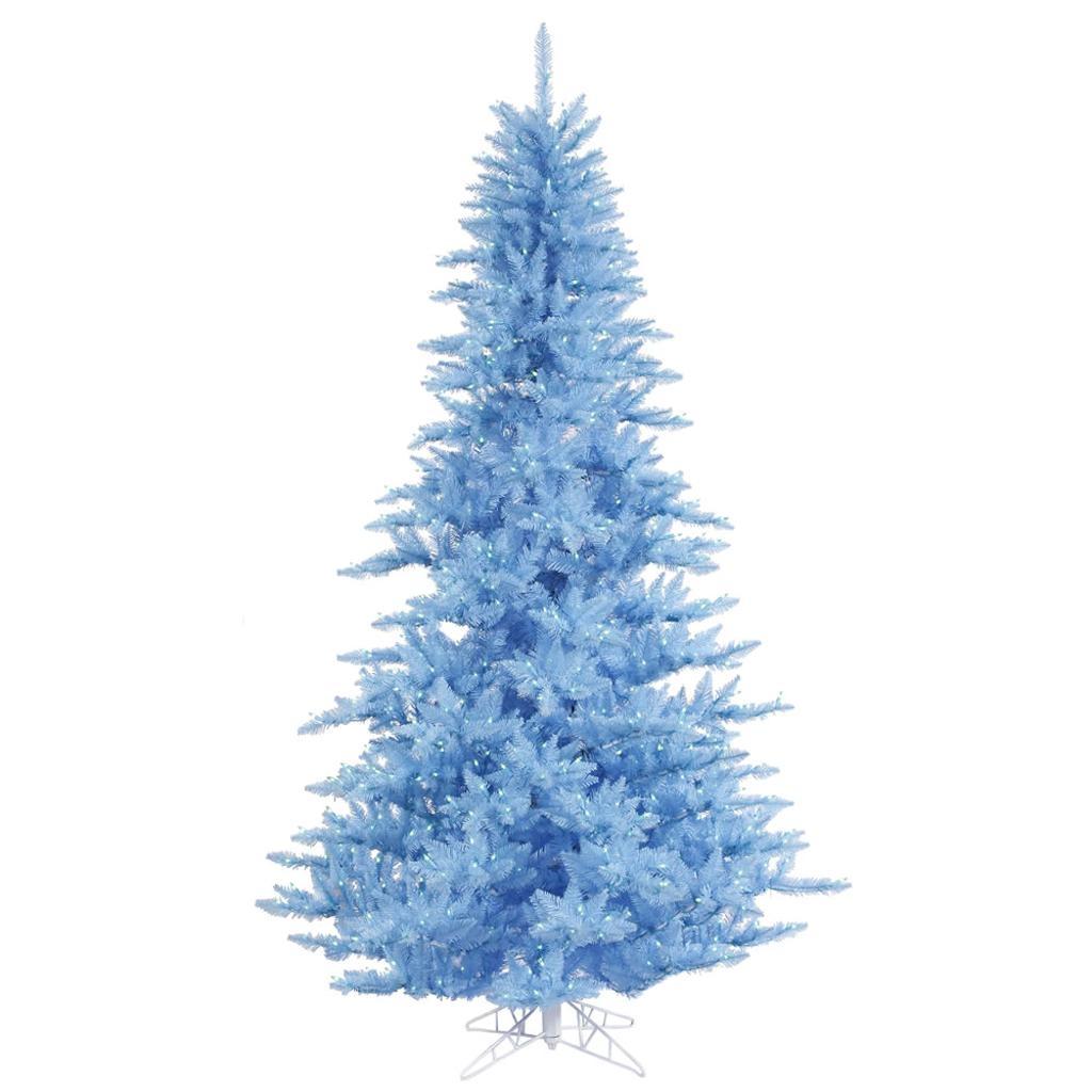 "Vickerman 436073 - 6.5' x 46"" Sky Blue Fir Tree with 600 Blue Lights Christmas Tree (K164266)"