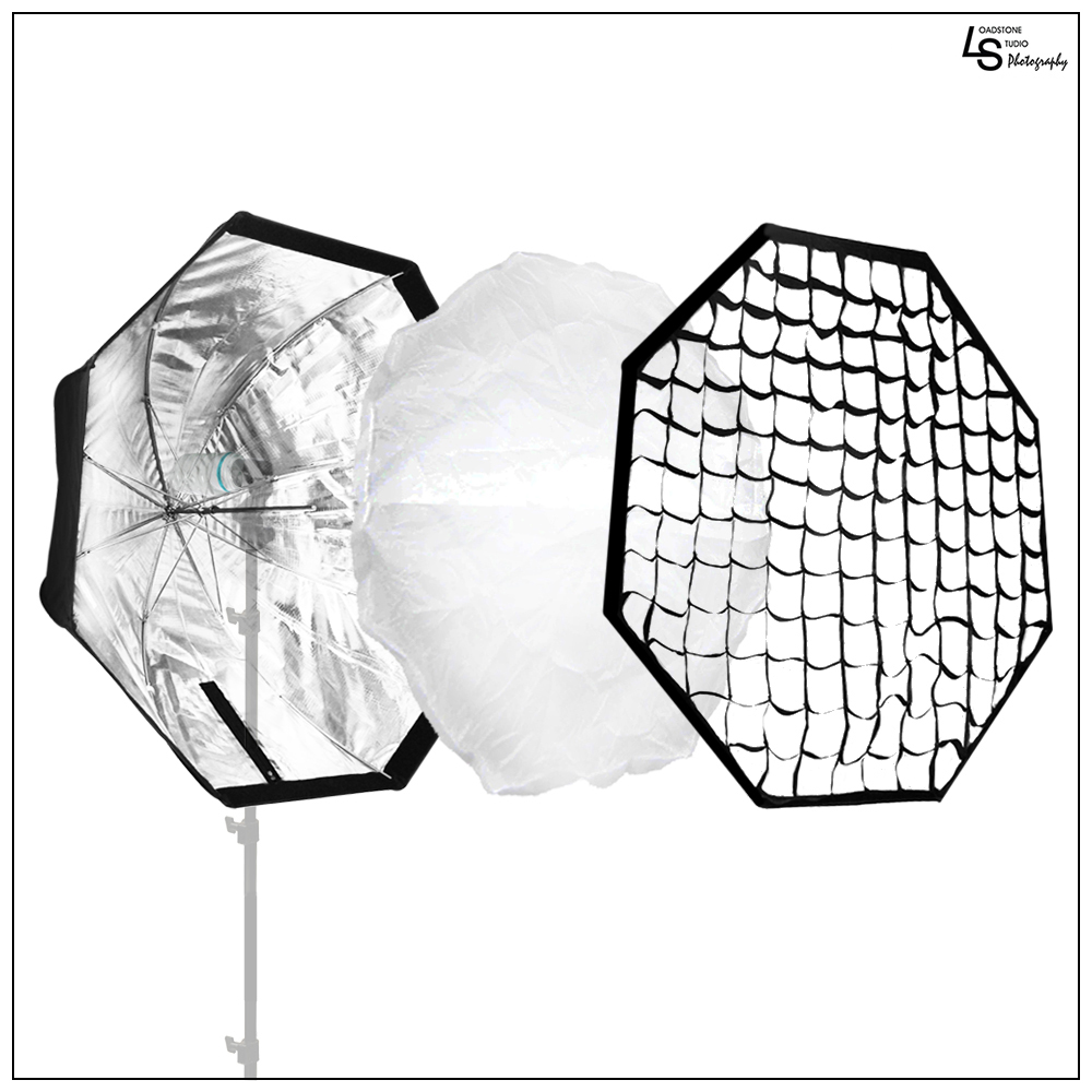 "32"" Octagonal Umbrella Reflector Softbox with Honeycomb Grid and Removable Shaft for Photo Video Lighting by Loadstone Studio WMLS0273"