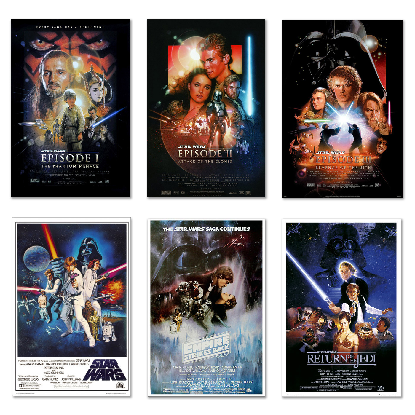 "Star Wars: Episode I, II, III IV, V & VI - 6 Piece Movie Poster / Print Set (Regular Styles 1) (Size: 24"" x 36"" each)"