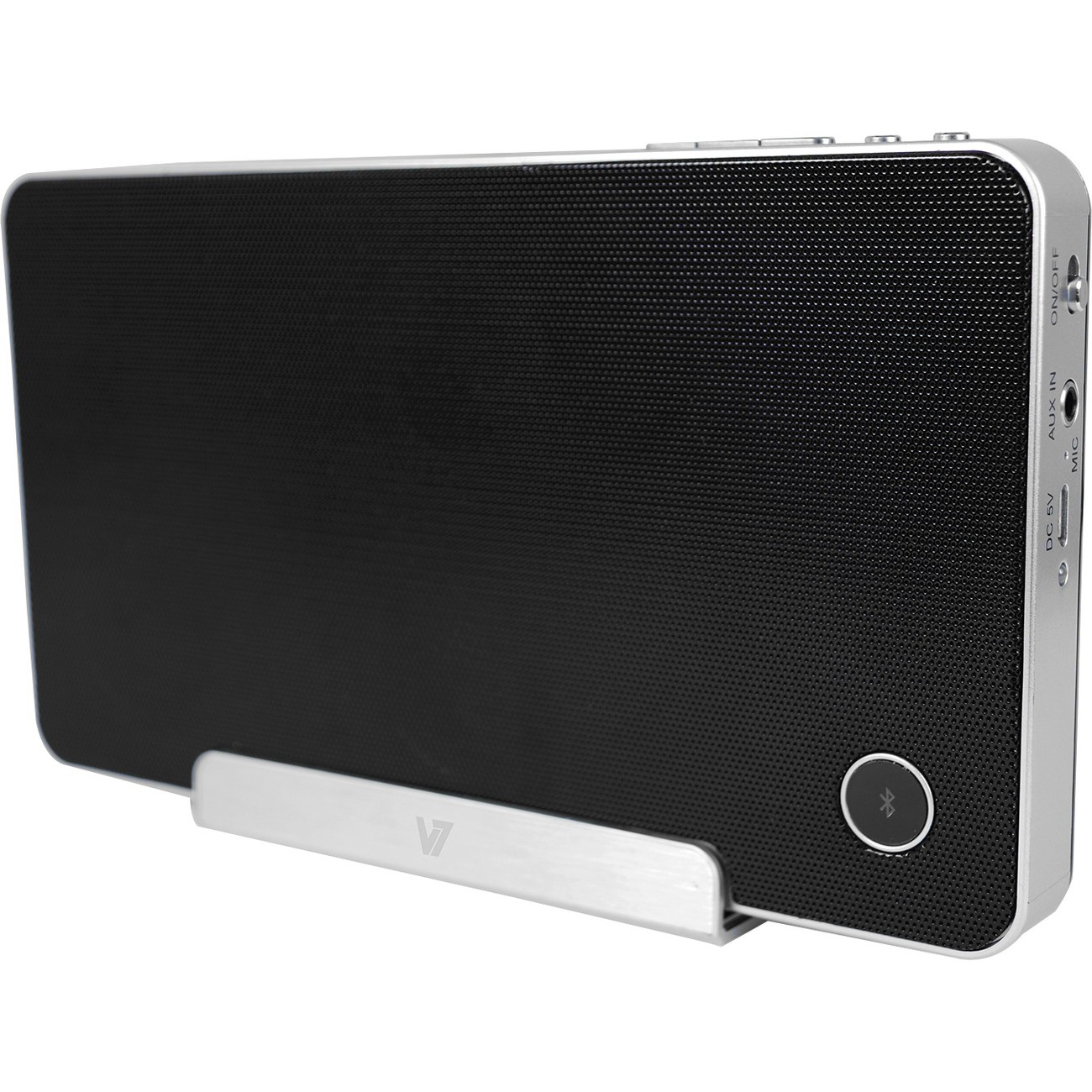 V7 Bluetooth Wireless Speaker with Built-in Microphone (Push to Talk) and Tablet Stand