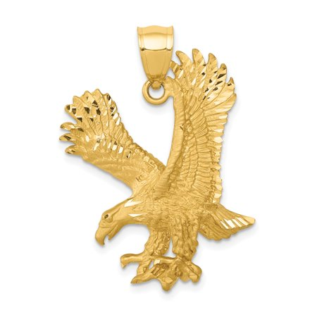 14k Yellow Gold Eagle Pendant Charm Necklace Bird