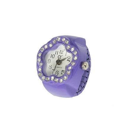 Ladies Purple Stretch Band Rhinestone Inlaid Flower Face Finger Ring Watch (Witches Ring)