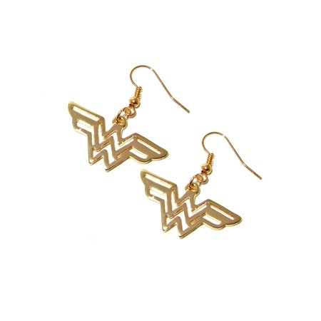 Dangle Earrings DC Wonder Woman Gold Logo In Gift Box by Superheroes