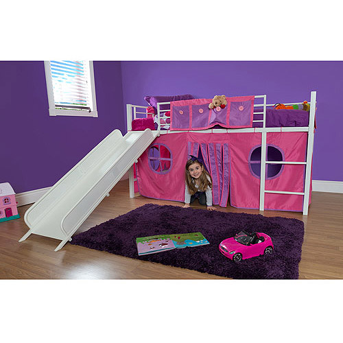 Girl Twin Metal Loft Bed with Slide