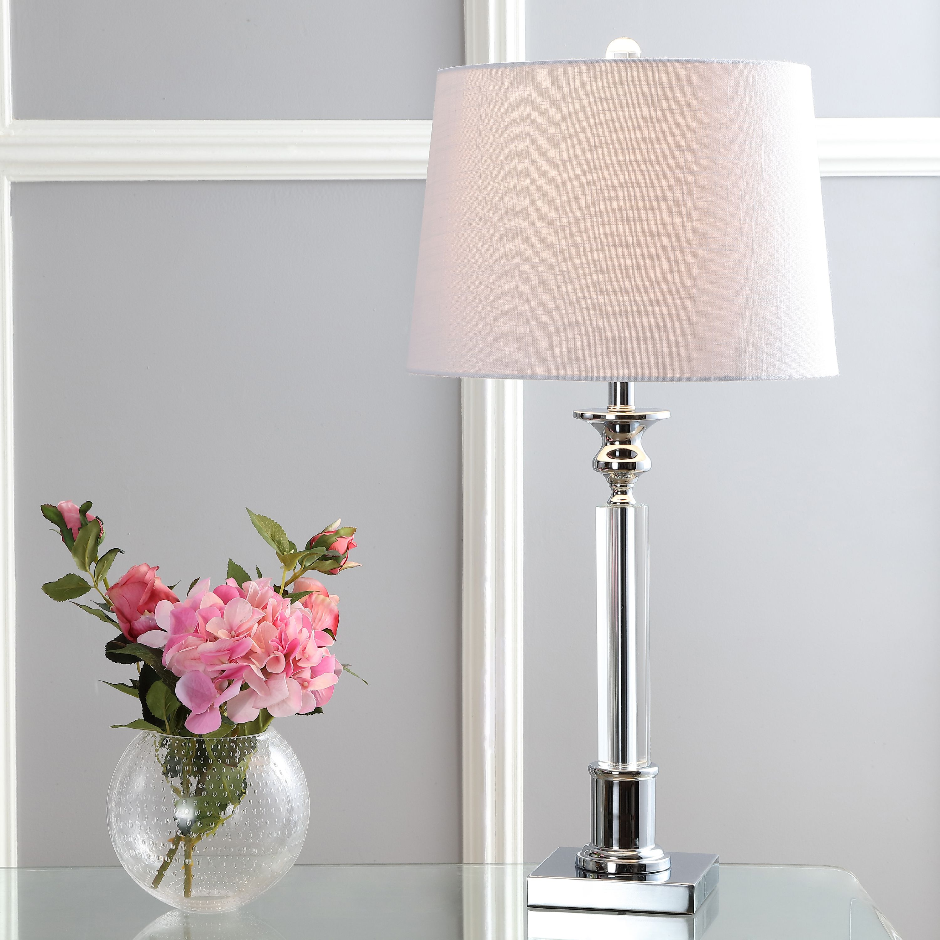 "Dean 28"" Crystal LED Table Lamp, Clear/Chrome"