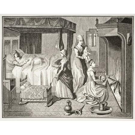 The New Born Child 19Th Century Reproduction From A 15Th Century Miniature In Histoire De La Belle Helaine Canvas Art - Ken Welsh  Design Pics (34 x 26) ()
