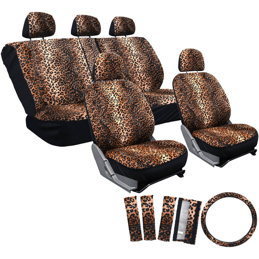 Incredible Oxgord 17 Piece Set Leopard Animal Print Auto Seat Covers Set Front Low Back Buckets Rear Split Bench Beige Walmart Com Pdpeps Interior Chair Design Pdpepsorg