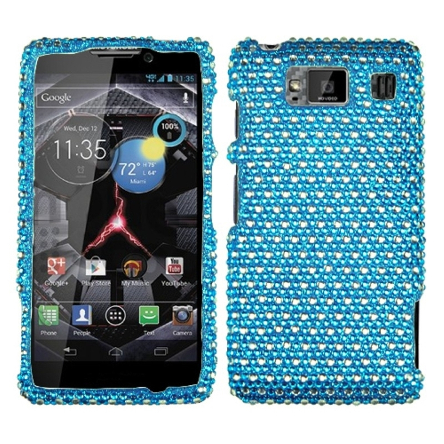 Insten Dots(Blue/white) Diamante Phone Case for MOTOROLA: XT926W (Droid Razr HD)