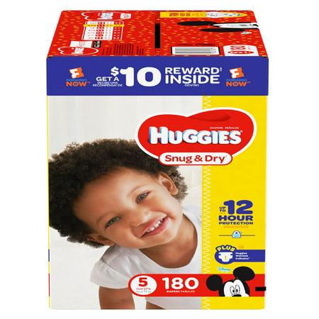 Huggies Snug & Dry Diapers Size 5 -180 ct. (27+ lbs.) - Bulk Qty, Free Shipping - Comfortable, Soft, No leaking & Good nite