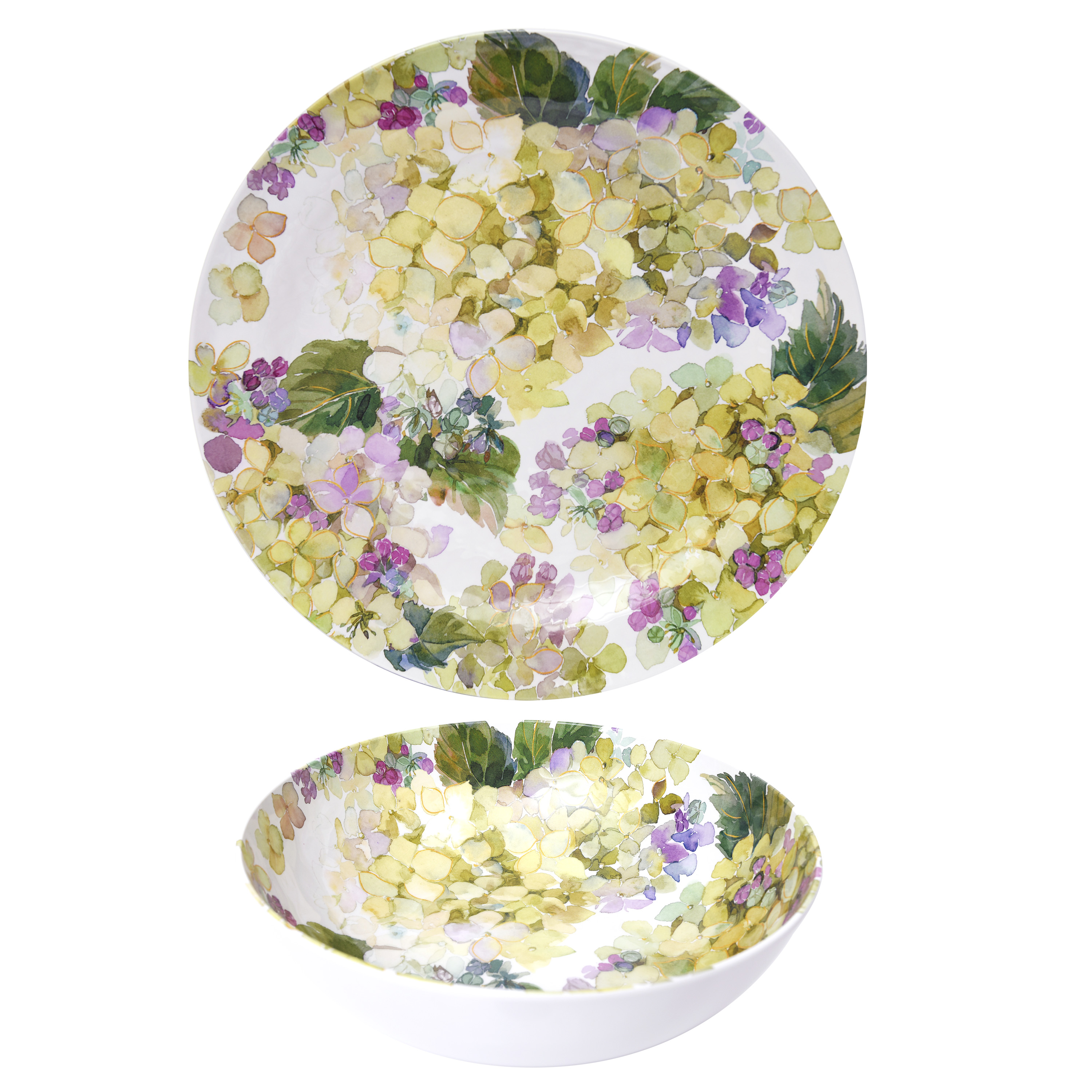 Better Homes & Gardens Hydrangea Purple Melamine Platter and Serving Bowl Set