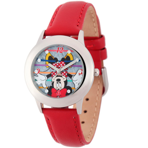 Disney Minnie Mouse Girls' Stainless Steel Glitz Case Watch, Red Leather Strap