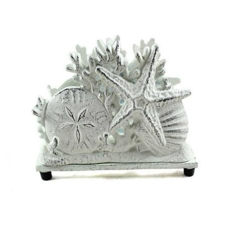 "Rustic Whitewashed Cast Iron Seashell Napkin Holder 7"" - Decorative Sea Shell - Beach Kitchen Ideas"