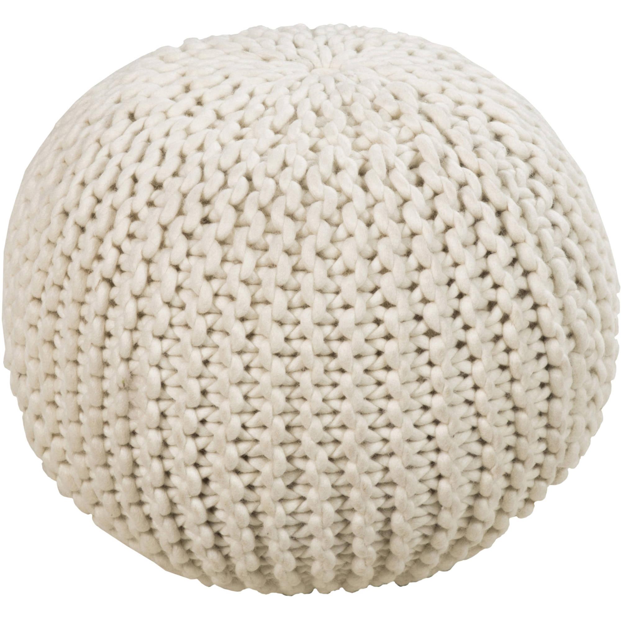 Libby Langdon Garrison Hand Made Chunk Stitch Knit Wool Pouf, Beige