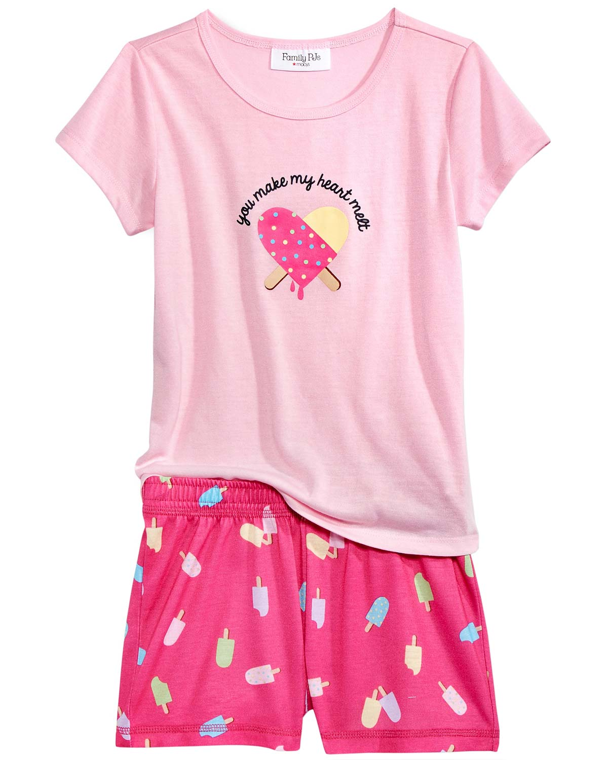 Family Pajamas Little Girls You Make My Heart Melt Pajama Set 4T-5 Popsicle Bite