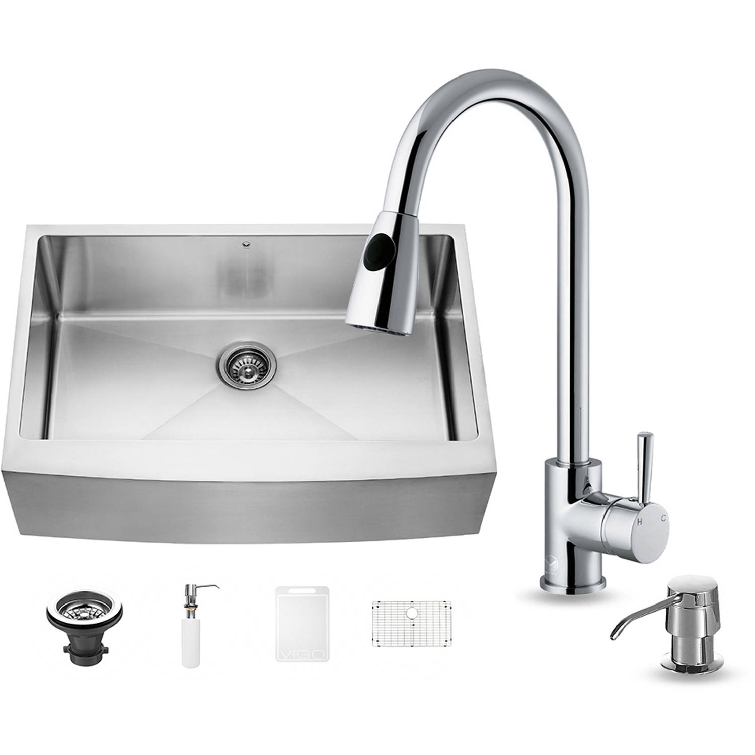 "Vigo All-in-One 33"" Farmhouse Stainless Steel Kitchen Sink and Chrome Faucet Set"