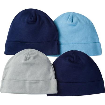 newborn baby boy assorted pattern caps 4 pack walmart com