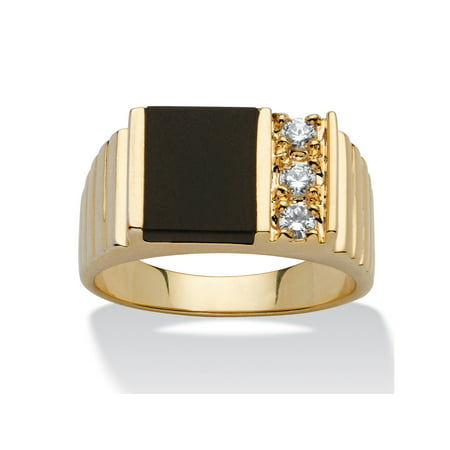 Men's .30 TCW Genuine Onyx Cubic Zirconia Accent 14k Yellow Gold-Plated Classic Ring