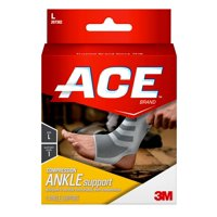 ACE Brand Compression Ankle Support, Large, White/Gray