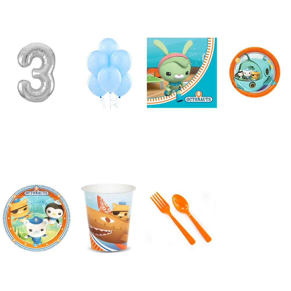 OCTONAUTS PARTY SUPPLIES PARTY PACK FOR 32 WITH SILVER #3 BALLOON