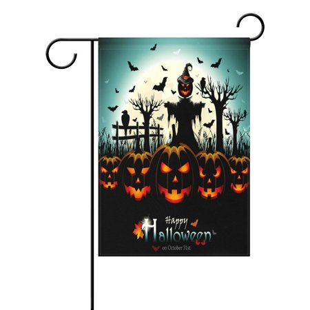 POPCreation Night Halloween Pumpkin Scarecrow Garden Flag Bats Full Moon Outdoor Flag Home Party 28x40 inches](Bts Halloween Party Full)