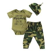 0-18M Newborn Baby Boys Clothes Sets Letter Camouflage Print Romper Pants Hats