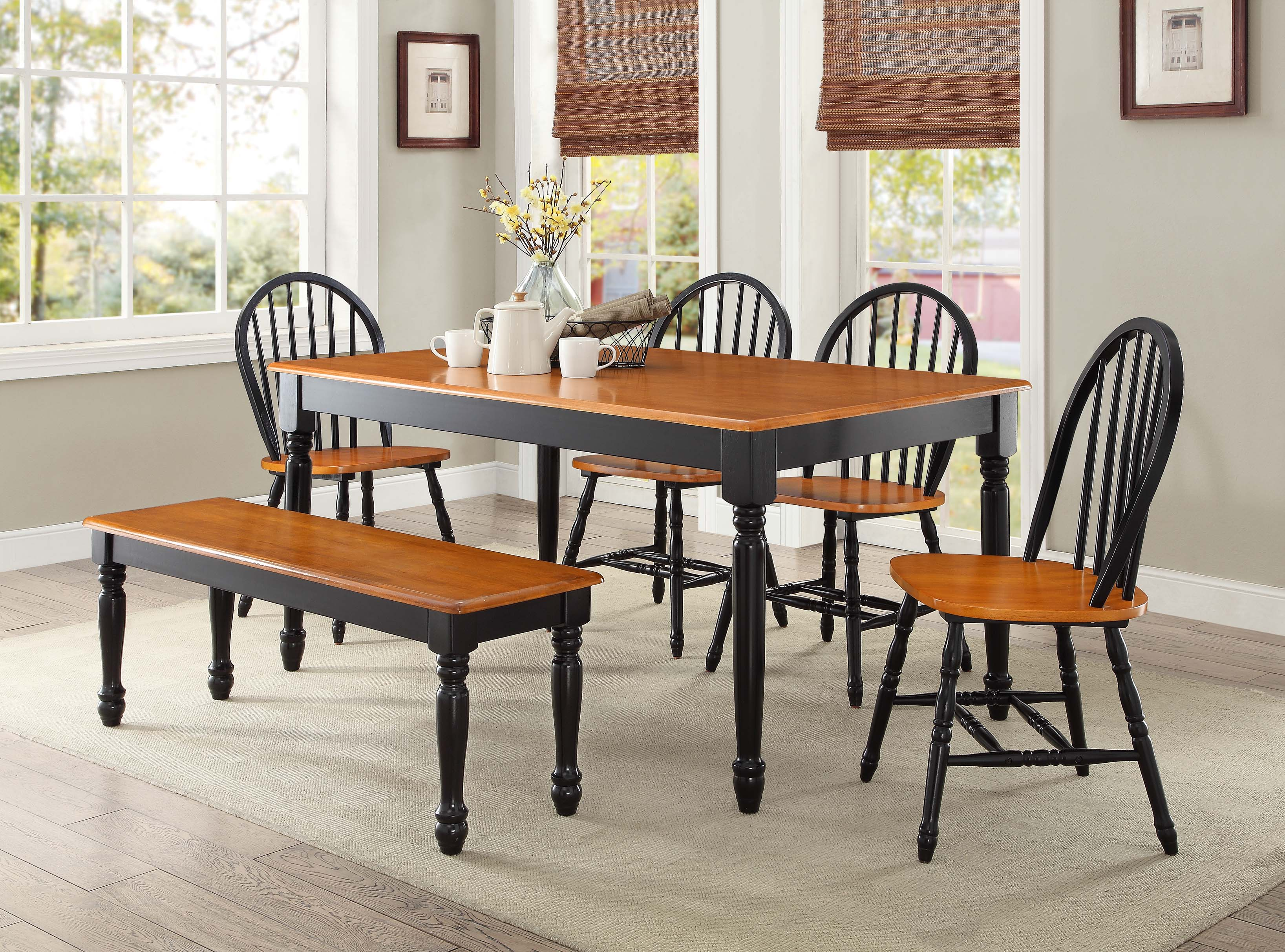 Better Homes And Gardens Autumn Lane Farmhouse 6 Piece Dining Set Bundle Black Oak