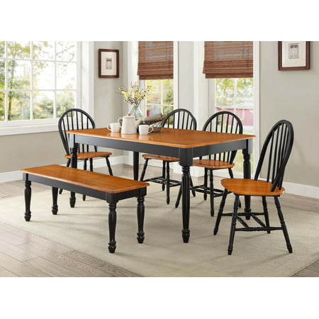 Better Homes and Gardens Autumn Lane Farmhouse 6-Piece Dining Set Bundle, Black and Oak Creek House 2 Piece
