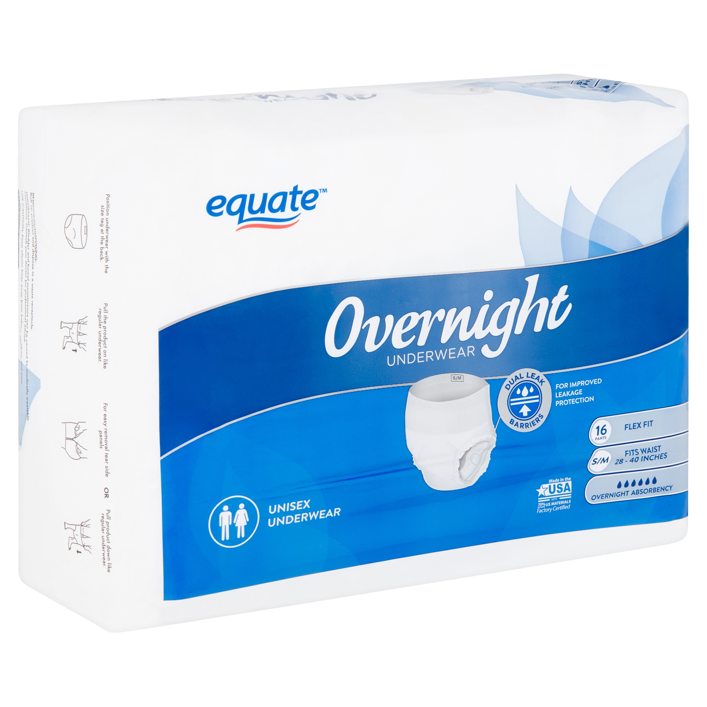 Equate Overnight Absorbency Unisex Underwear, S/M, 16 count
