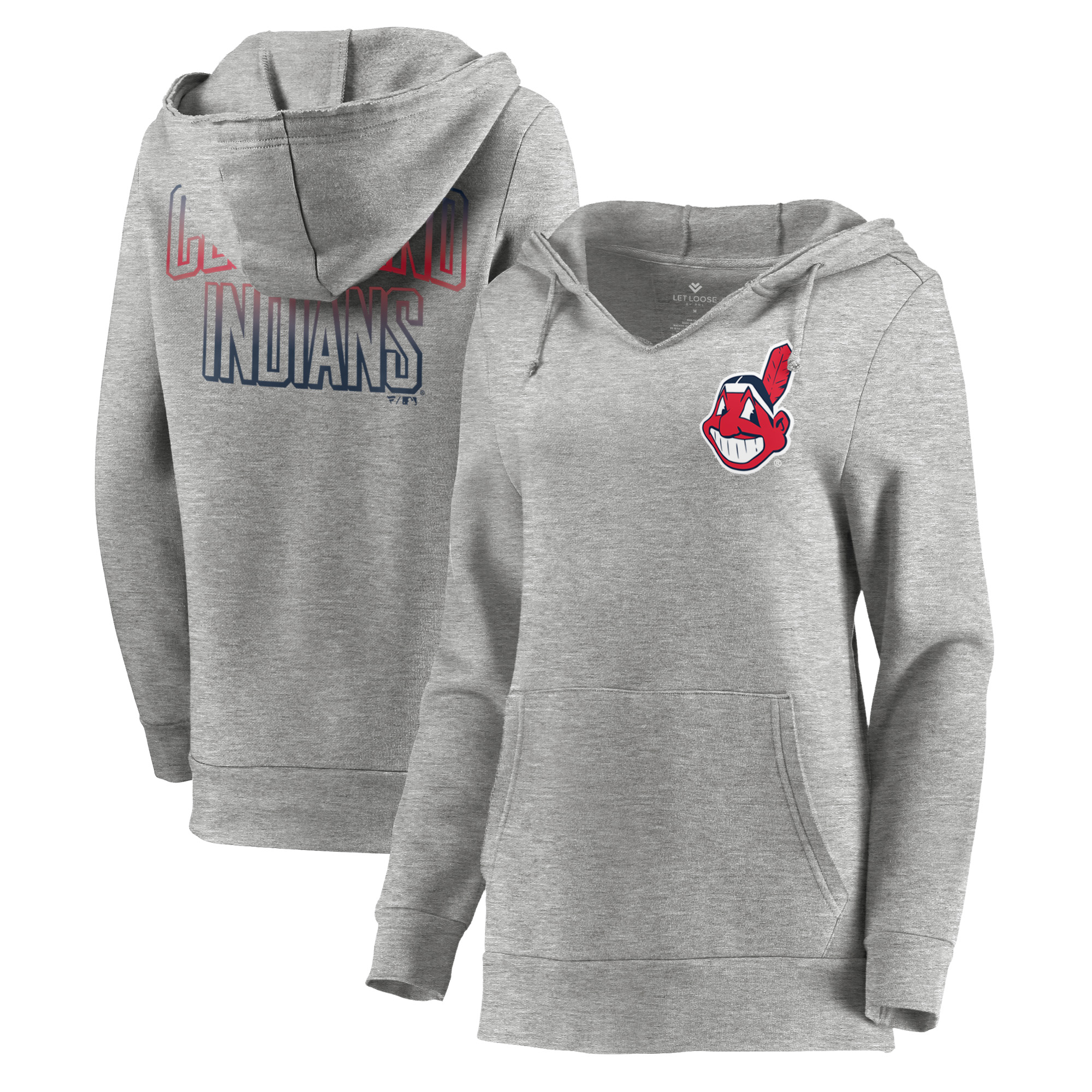 Cleveland Indians Let Loose by RNL Women's Team Logo Fleece Tri-Blend Pullover Hoodie - Ash
