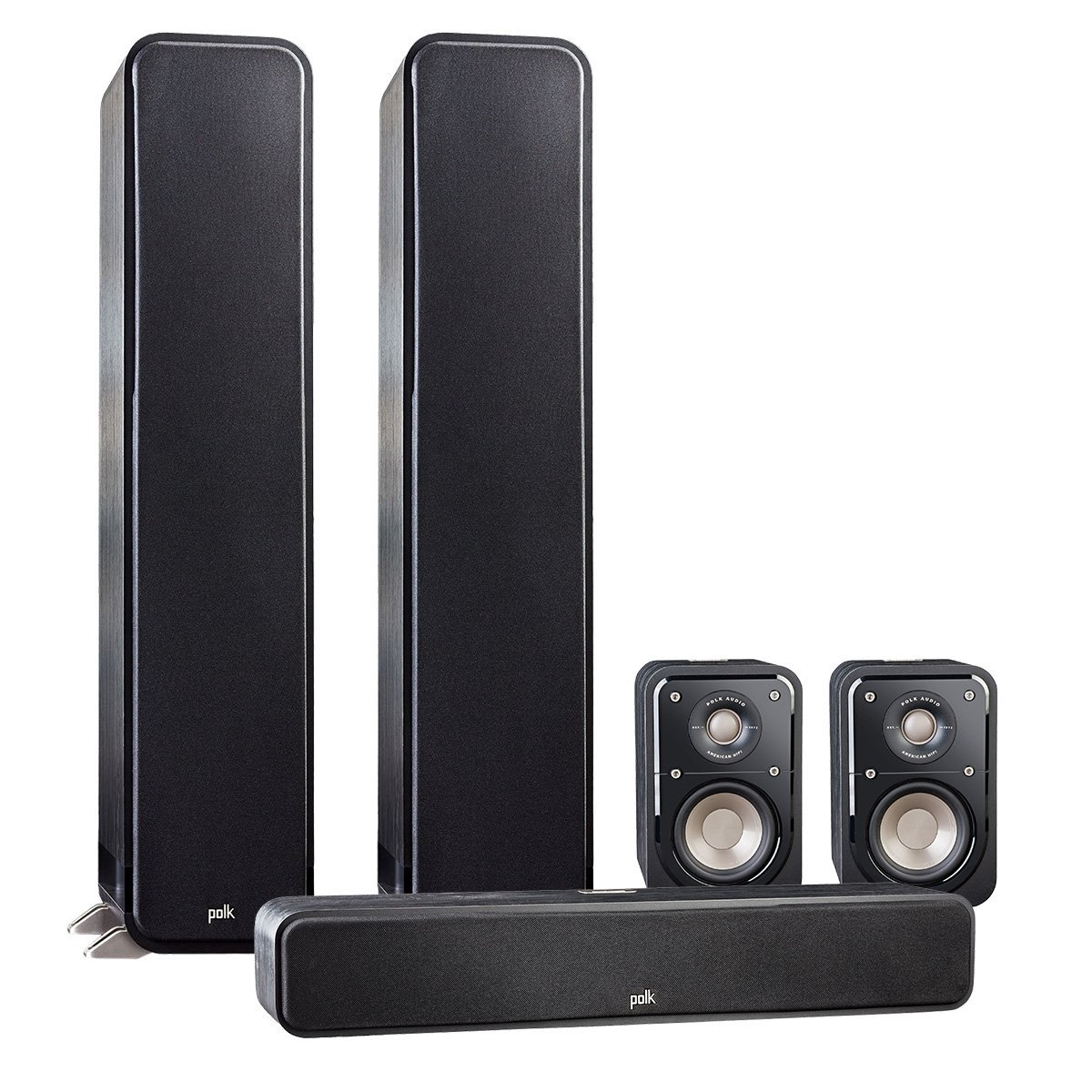 Polk Audio Signature 5.0 System with 2 S55 Tower Speaker, Polk S35 Center Speaker, 2 Polk S15 Bookshelf Speakers, Black by Polk Audio