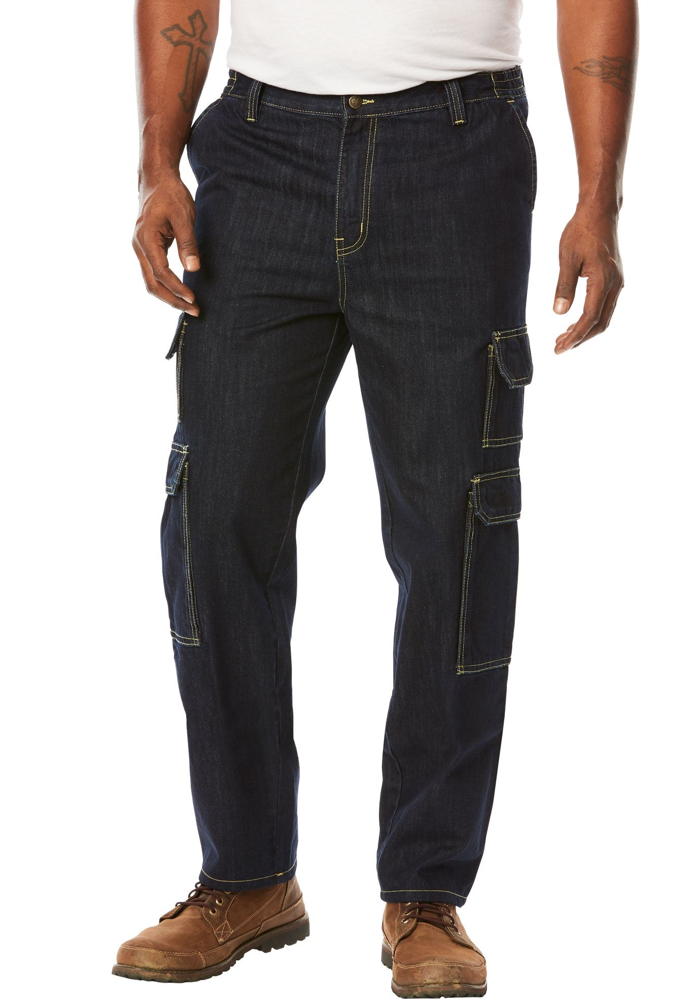 Men's Big & Tall Side-elastic Cargo Pants By Boulder Creek